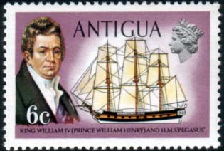 Antigua 1970 Ships and Captains SG 275 William IV and H.M.S. Pegasus Fine Mint