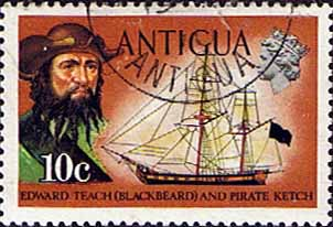 Antigua 1970 Ships and Captains SG 276 Blackbeard and Pirate Ketch Fine Used