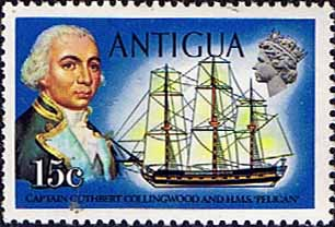 Antigua 1970 Ships and Captains SG 277 Captain Collingwood and H.M.S. Pelican Fine Mint