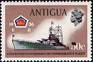 Antigua 1970 Ships and Captains SG 281 H.M.S. Renown Battle Cruiser Fine Mint