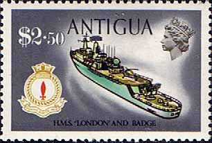 Antigua 1970 Ships and Captains SG 284 H.M.S. London Destroyer Fine Mint