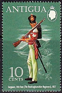 Postage Stamps Antigua 1972 Military Uniforms Set Fine Mint
