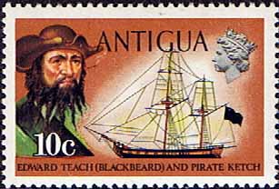 Antigua 1974 Ships and Captains SG 329 Blackbeard and Pirate Ketch Fine Mint
