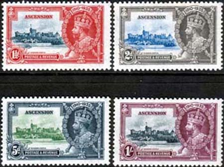 Ascension Islands Stamps 1935 King George V Silver Jubilee Set Fine Mint