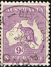 Animal Stamps Australia 1915 Kangaroo on Map Fine Used SG 39 Scott 50