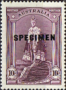 Postage Stamp of Australia 1937 SG 177 K in Robes SPECIMEN Fine Mint