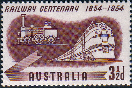Stamp Stamps Australia 1954 Railway Centenary Trains Fine Mint  SG 278 Scott 275