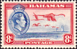 Bird Stamps Bahamas 1938 George VI Flamingoes in Flight SG 160 Fine Mint Scott 108
