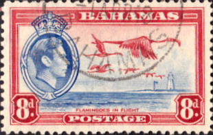 Stamps Bahamas 1938 George VI Flamingoes in Flight SG 160 Fine Used Scott 108