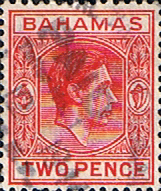 Stamps of Bahamas 1938 George VI SG 152b Fine Used Scott 103B