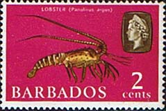 Stamps of Barbados 1965 QE II SG 323 Marine Life Lobster Fine Mint