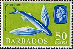Postage Stamps of Barbados 1966 QE II SG 353 Marine Life Four-winged Flyingfish Fine Mint