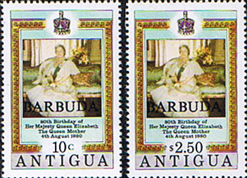 Postage Stamps of Barbuda 1980 Queen Mothers 80th Birthday Set Fine Mint