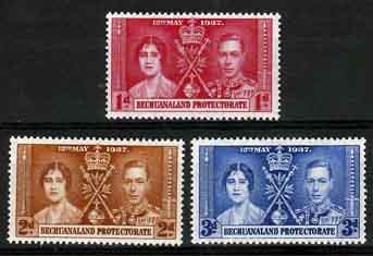 Bechuanaland 1937 King George VI Coronation Postage Stamps