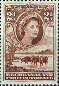 Stamps Stamp Bechuanaland 1955 Queen Elizabeth II Baobab Tree SG 145 Fine Mint Scott 156