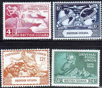 Postage Stamps British Guiana 1949 UPU Set Fine Mint SG 324-327 Scott 246 - 249