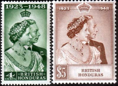 British Honduras Stamps King George VI Royal Silver Wedding
