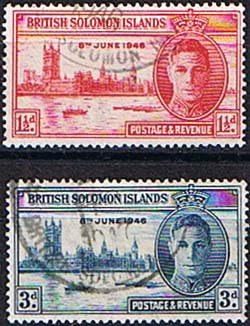 British Solomon Islands Stamps 1946 Victory Peace