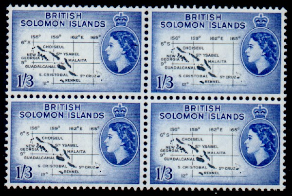 British Solomon Islands 1956 SG 91b Map Block Fine Mint