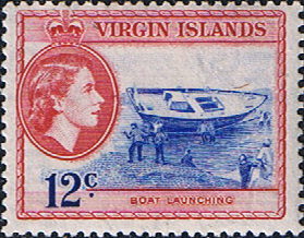 British Virgin Islands Stamps 1956 Queen Elizabeth II New Idea Boat SG 156 Fine Mint Scott 122