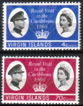 Stamps Virgin Islands 1966 Caribbean Royal Visit Set Fine Mint