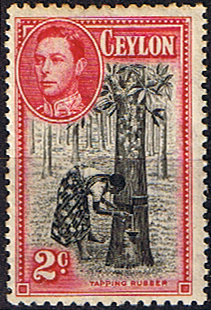 Ceylon 1938 King George VI SG 386c Tapping Rubber Fine Mint