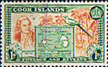 Stamps of Cook Island 1949 Cook and Map of Hervey Islands SG 151 Fine Mint Scott 132