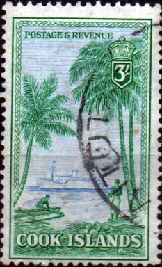Stamps of Cook Island 1949 Map and Statue of Captain Cook SG 157 Fine Mint Scott 138