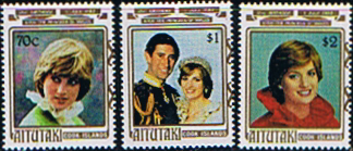 Commonwealth stamps 1982 Cook Islands Aitutaki Island Diana 21st Birthday Set Fine Mint