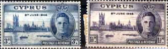 Cyprus 1946 King George VI Victory Stamps