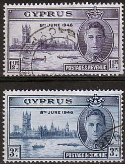 Cyprus 1946 Stamps King George VI Victory Set