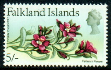 Stamps of Falkland Islands 1968 SG 244 Felton s Flower Key Value Fine Mint SG 244 Scott 178