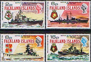 Postage Stamps Falkland Islands 1974 Battle of the River Plate Set Fine Mint