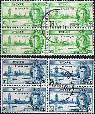 Postage Stamps Fiji 1946 King George VI Victory Set in Blocks of 4 Fine Used
