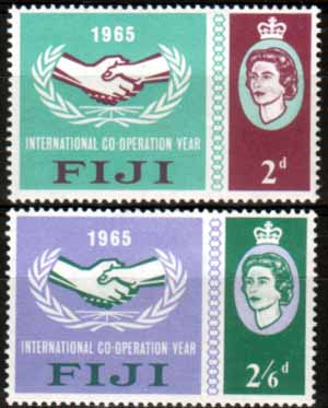 Postage Stamps Fiji 1965 International Co-operation Year Set Fine Mint