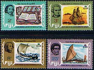 Postage Stamps Fiji 1970 Explorers and Discoverers Set Fine Mint