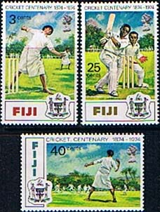Postage Stamps Fiji 1974 Cricket Centenary Set Fine Mint