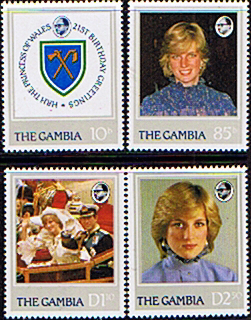 Stamp Stamps 1982 Gambia Diana 21st Birthday Set Fine Mint