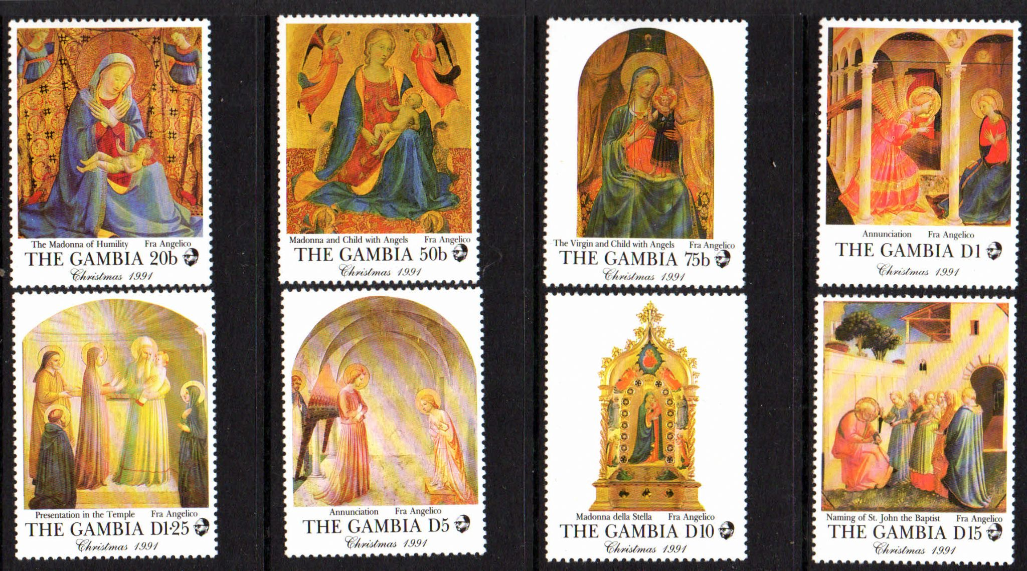 Religious Christmas Stamps 2020 Gambia 1994 Christmas Religious Paintings Set Fine Mint