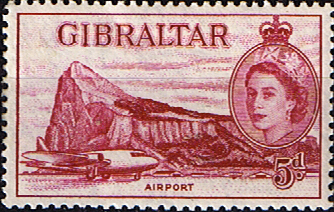 Stamps Europe Gibraltar 1953 SG 152 Airport Fine Mint Scott 139