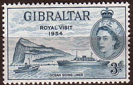 Stamps Gibraltar 1954 Queen Elizabeth II Royal Visit Fine Mint  SG 159 Scott 146