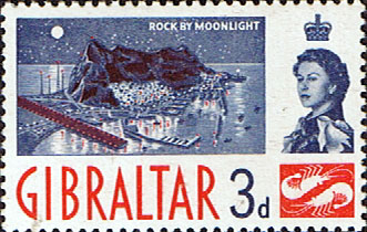 British Europe Stamps Stamp Gibraltar 1960 SG 164 The Rock by Moonlight Fine Mint SG 164 Scott 150