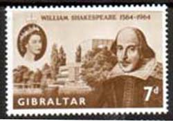Gibraltar 1964 William Shakespeare Stamps