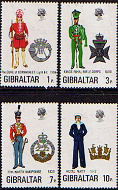 Postage Stamps Gibraltar 1972 Military Uniforms Set Fine Mint