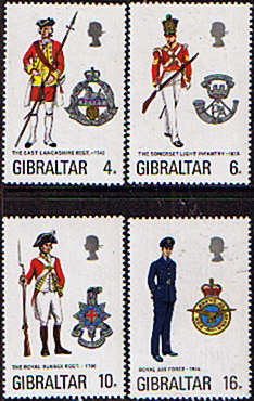 Stamps Gibraltar 1974 Military Uniforms Set Fine Mint