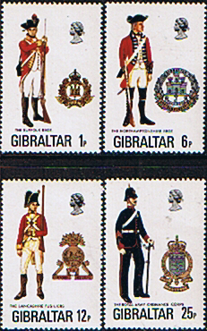 Stamps Gibraltar 1976 Military Uniforms Set Fine Mint