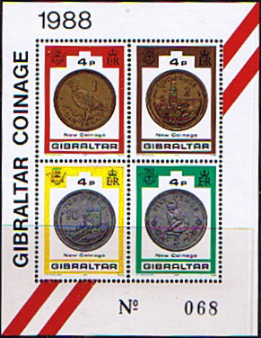 Stamps Gibraltar 1989 Coinage Miniature Sheet Fine Mint SG 620 Scott 556