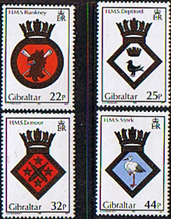 Stamp Stamps Gibraltar 1989 Naval Crests and Ships Set Fine Mint