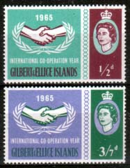 Postage Stamps Gilbert and Ellice 1965 International Co-operation Year Set Fine Mint