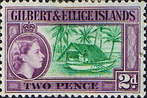 Postage Stamps Gilbert and Ellice Islands 1939 SG 66 Scott 63 Canoe and Boathouse Fine Used